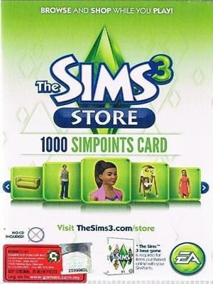 PC - The Sims 3 Store 1000 pts Retail Ca
