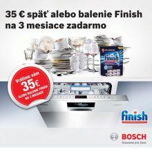 Cashback 35 € alebo Finish na 3 mesiace k umývačke riadu Bosch