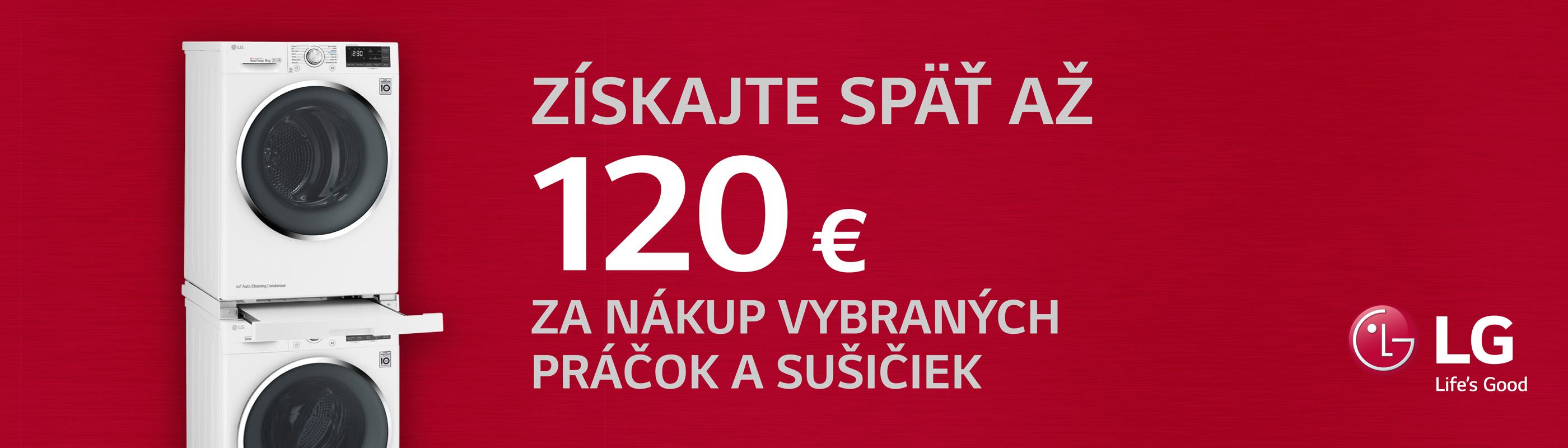 Cashback až do 120 € na práčky a sušičky LG