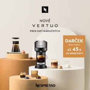 45 € poukážka na nákup kávy ku kávovarom Nespresso Vertuo