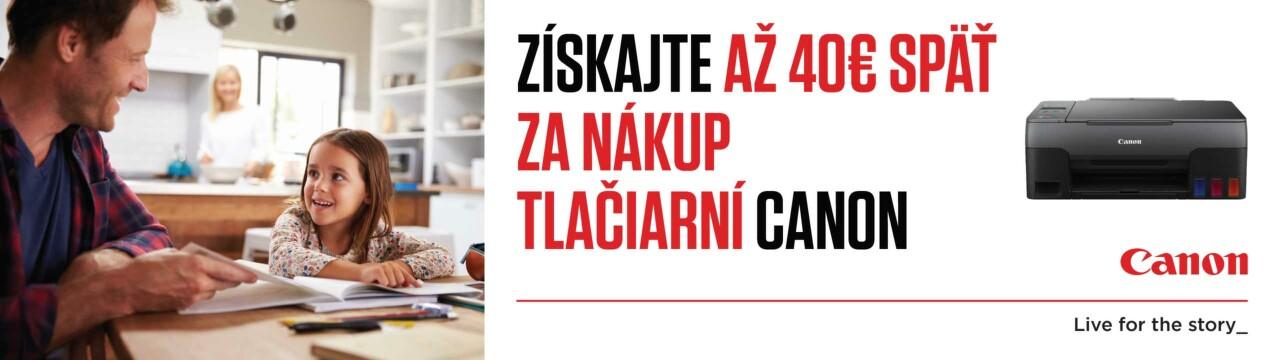 Cashback až do 40 € na tlačiarne Canon
