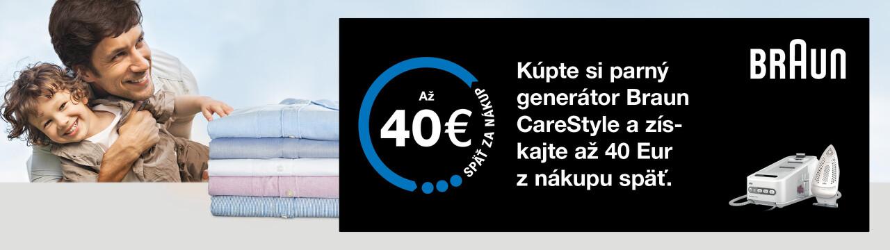Cashback až do 40 € na parné generátory Braun