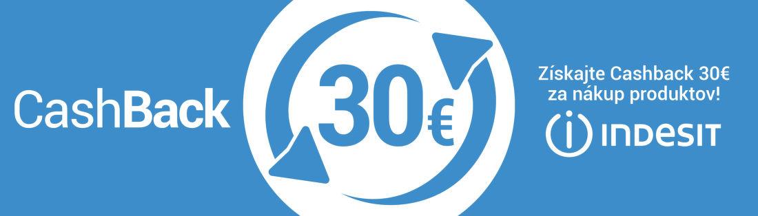 Cashback 30 € na práčky a umývačky riadu Indesit