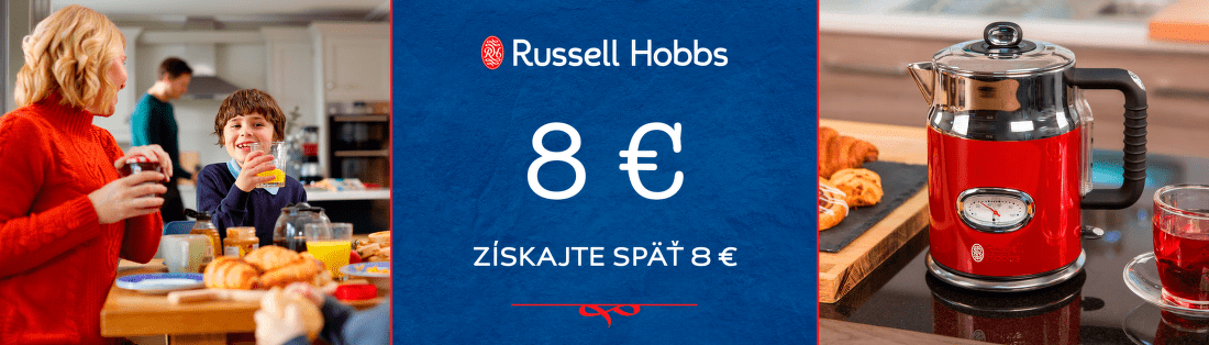Cashback 8 € na malú bielu techniku Russell Hobbs
