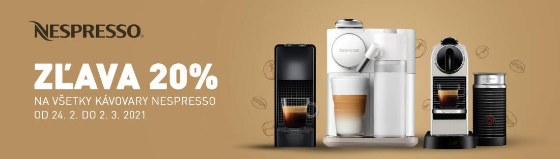 20% zľava na kávovary Nespresso