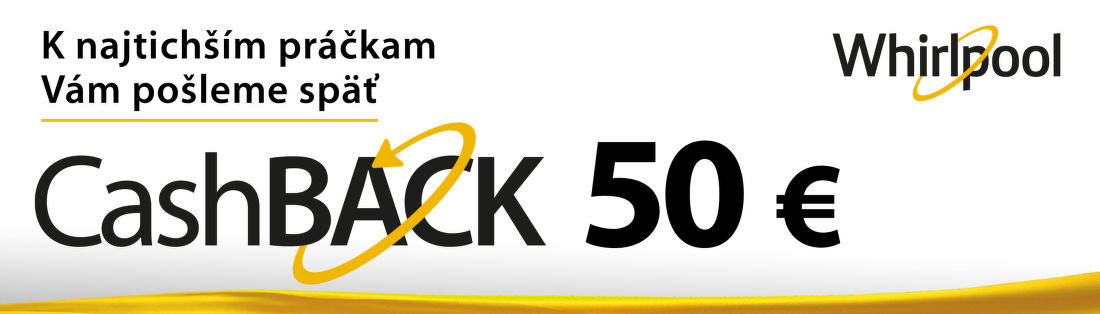 Cashback 50 € na tiché práčky Whirlpool