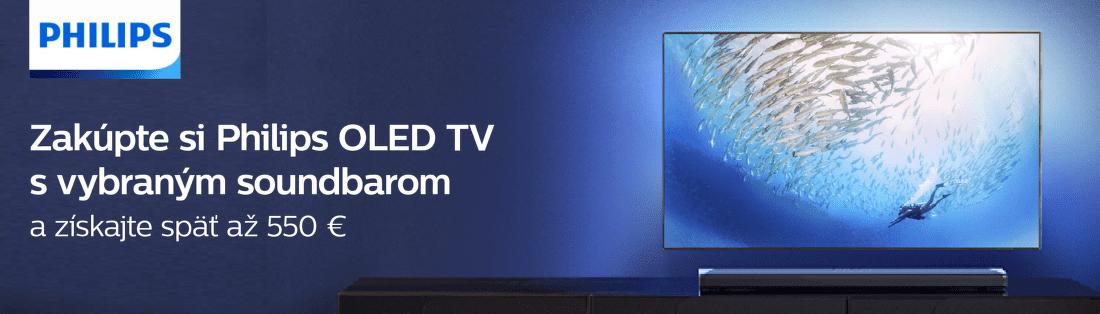 Cashback až do 550 € k nákupu OLED TV Philips + soundbar