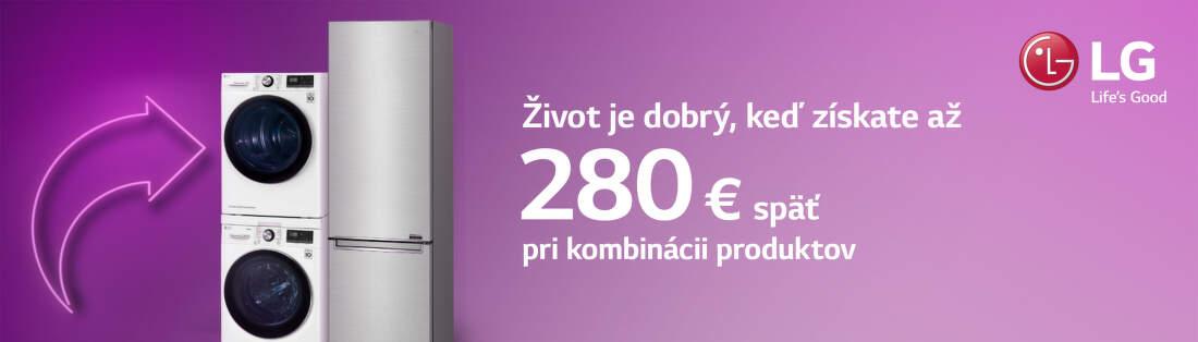 Cashback až do 280 € na vybrané spotrebiče LG