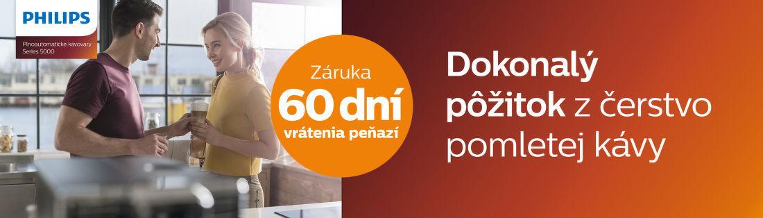 60 dní záruka vrátenia peňazí na kávovary Philips