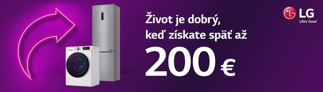 Cashback až do 200 € na veľkú bielu techniku LG