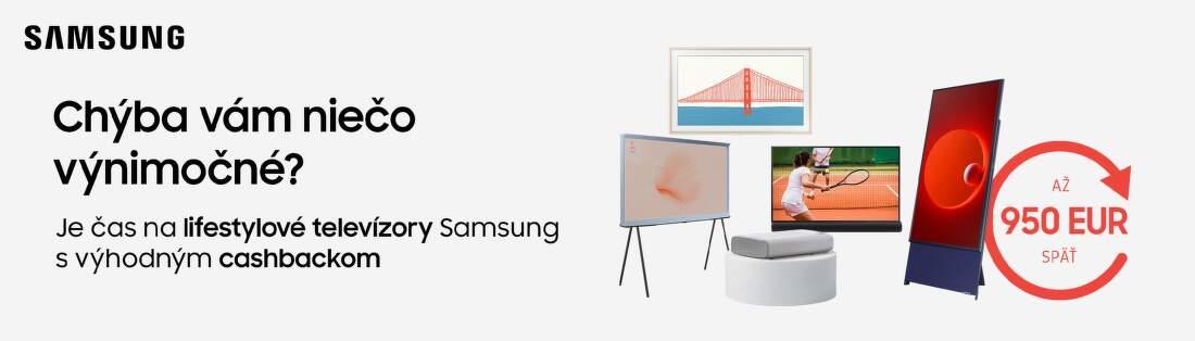 Cashback až do 960 € na TV, projektory a soundbary Samsung