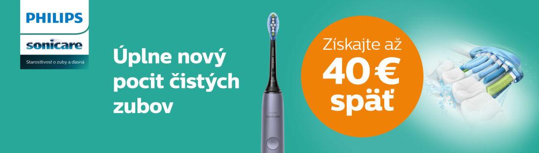 Cashback až do 40 € na zubné kefky Philips Sonicare