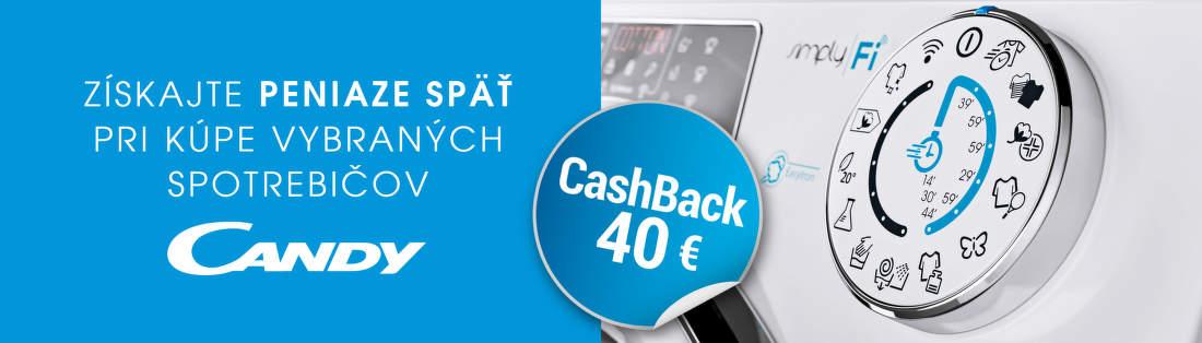 Cashback 40 € na spotrebiče Candy
