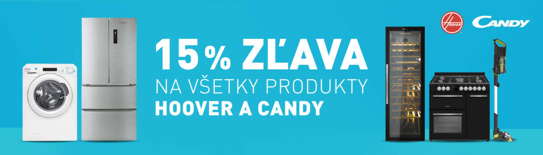 15% zľava na produkty Hoover a Candy