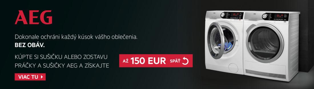 Cashback až do 150 € na sušičky AEG