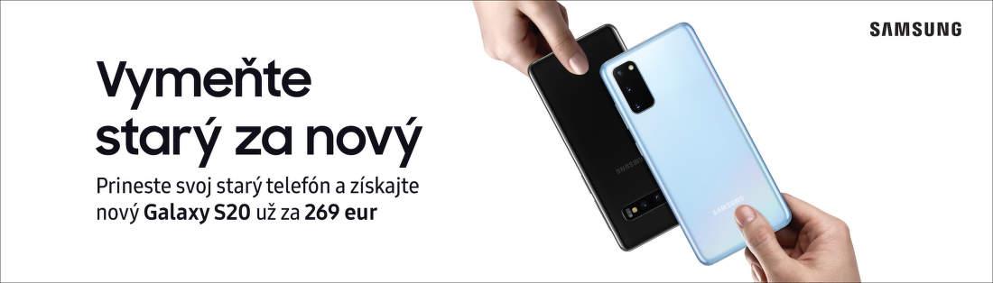 Získajte späť až do 630€ za váš starý telefón pri kúpe Samsung Galaxy S20