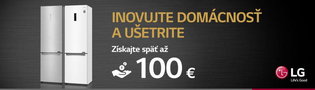 Cashback až do 100 € na kombinované chladničky LG