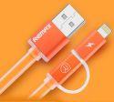 Remax AA-1147 Aurora 2v1 Lightning/microUSB kábel, oranžová