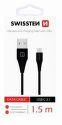 Swissten USB/USB-C dátový kábel 1,5m, čierna