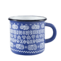 Štrbské Presso smaltovaný modrý hrnček Čičmany