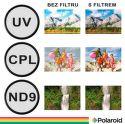 Polaroid 62 mm UV MC, CPL, ND9 Filtr kit 3ks