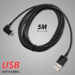 Mobilnet Micro USB dátový kábel 90° koncovka 5m, čierna
