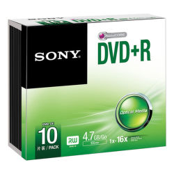 Sony DVD+R 4,7GB 16x, Slim, 10ks