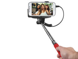 SBS selfie tyč s 3.5 mm konektorom, červená