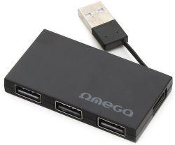 Omega 4 PORT čierny USB hub