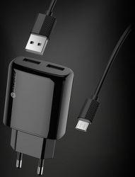 Sturdo NSI sieťová nabíjačka 2x USB + micro USB kábel, čierna