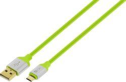 4-OK dátový kábel Micro USB 1,5 m zelený