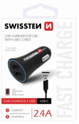Swissten CL adaptér 2,4A 2 x USB - USB-C 1,5m čierny
