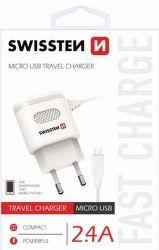Swissten 2,4A microUSB nabíjačka, biela