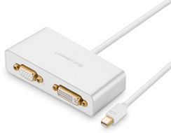 UGREEN 10438 3-v-1 Mini Displayport na HDMI/VGA/DVI konvertor - biely