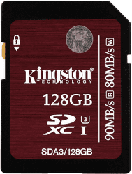 Kingston SDXC 128GB 90MB/s Class 10 UHS-I U3