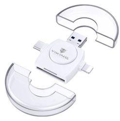 Viking 4v1 Lightning/micro USB/USB-A 3.0/USB-C biela