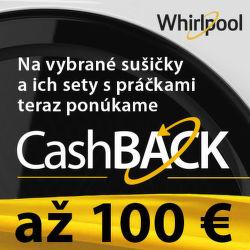 Cashback až do 100 € na sušičky Whirlpool