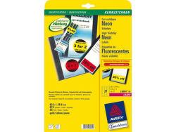 AVERY neónové žlté etikety 63,5 x 29,6mm