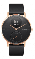 Nokia Steel HR 36mm ružovo-zlaté s čiernym silikonovým remienkom