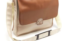 GPO Record Bag krémovo-hnedá taška na vinyl