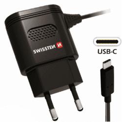 Swissten 2,4A USB-C nabíjačka, čierna