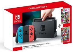 Nintendo Switch Neon + Splatoon 2 + Super Mario Odyssey