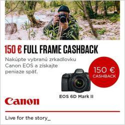 Cashback 150 € na vybrané zrkadlovky Canon