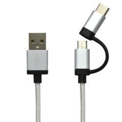 Mobilnet USB-C/microUSB kábel 2v1 1m, strieborná