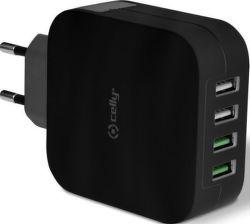 Celly Turbo 4 x USB nabíjačka, čierna