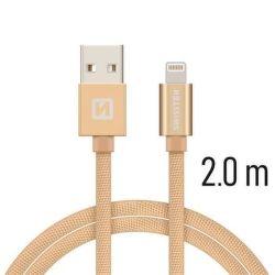 Swissten Lightning dátový kábel 2m, zlatá