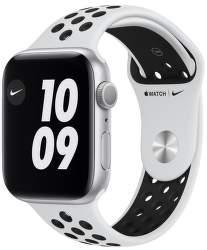 Apple Watch Nike Series 6 44 mm strieborný hliník s čiernym športovým remienkom