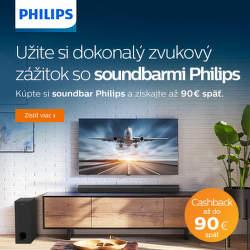 Cashback až do 90 € na soundbary Philips