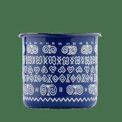 Štrbské Presso smaltovaný modrý hrnček Čičmany 2dcl