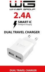Winner USB-A/USB-A 2,4 A sieťová nabíjačka biela